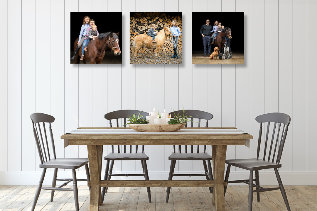 farmhouse kitchen with a series of equine photography canvases taken on an equine photoshoot