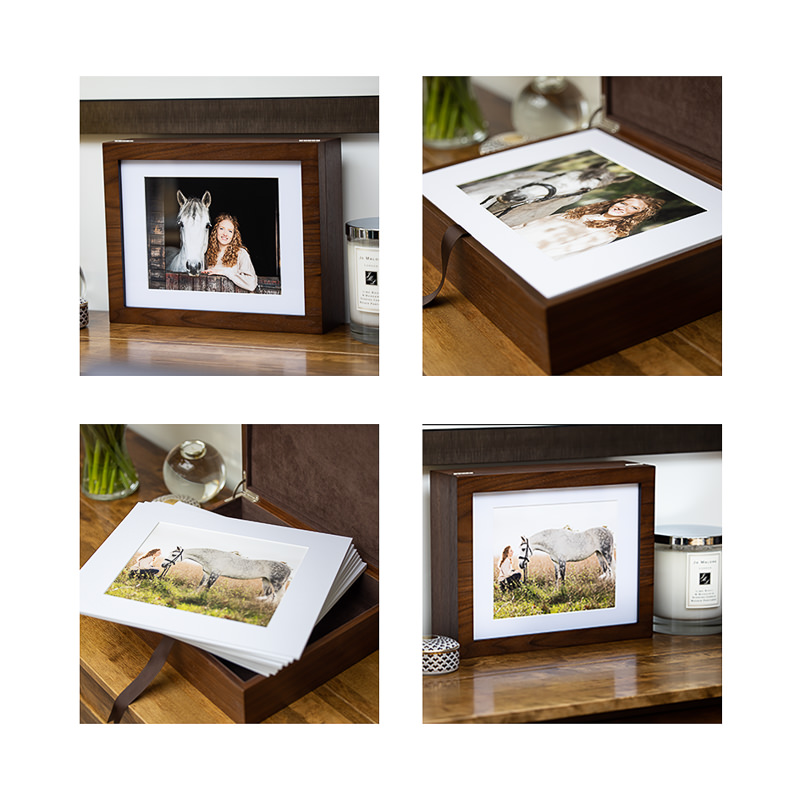 selection of images of a wooden photographic reveal box