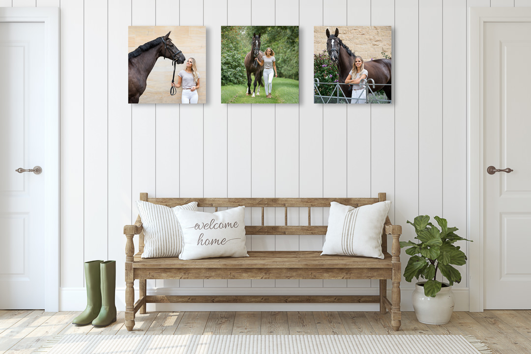 trio of equine photography prints hanging on a wall in a rural hallway